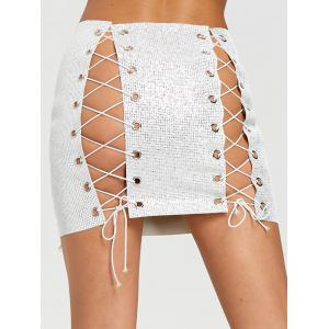 DIY Lace Up Eyelet Sequined Mini Skirt -