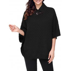 Buckle Strap Knitted Cape Sweater -