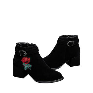 Almond Toe Flower Embroidered Ankle Boots -
