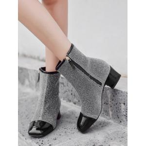 Square Toe Sequined Cloth Ankle Boots -