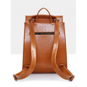 Faux Leather Portable Backpack -