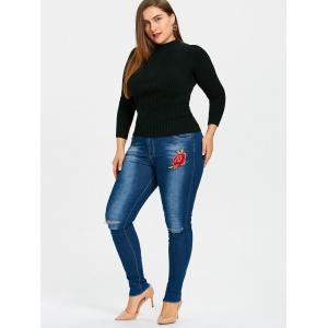 Frayed Hem Plus Size Embroidered Destroyed Jeans -