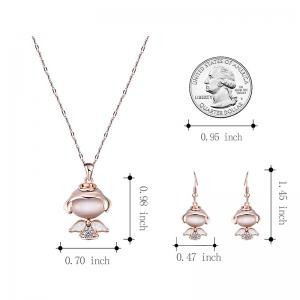 Faux Diamond Little Angle Pendant Necklace with Earrings -