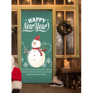 Happy New Year Snowman Pattern Door Cover Stickers -