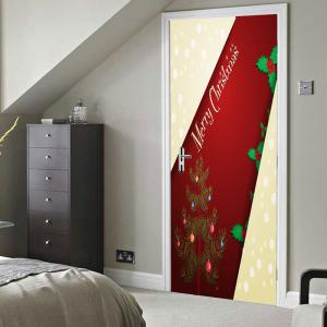 Merry Christmas Tree Pattern Door Cover Stickers -