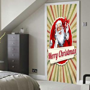 Christmas Home Decor Santa Claus Printed Door Stickers -
