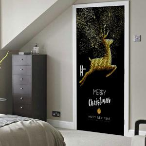 Christmas Home Decoration Flying Elk Printed Door Stickers -