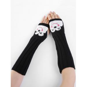 Cute Cartoon Pattern Embellished Knitted Fingerless Arm Warmers -