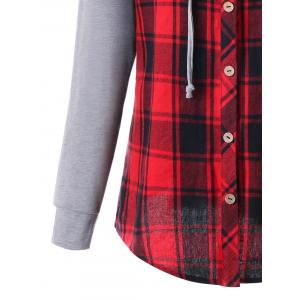 Plus Size Hooded Long Sleeve Plaid Panel Top -