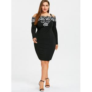 Plus Size Long Sleeve Cold Shoulder Embroidered Dress -