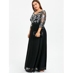 Plus Size Floral Sequined Maxi Prom Dress -