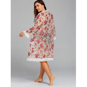 Embroidery Plus Size Fringed Mesh Cover-up -