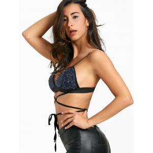 Sequin Lace Up Padded Bra Top -