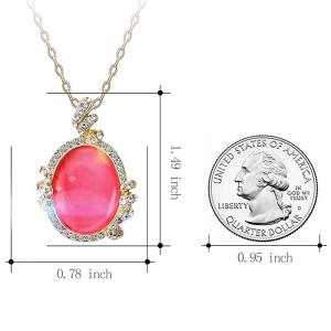Artificial Diamond Pendant Necklace with Earrings -
