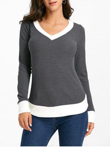 Unique Contrast Hem V Neck Knitwear