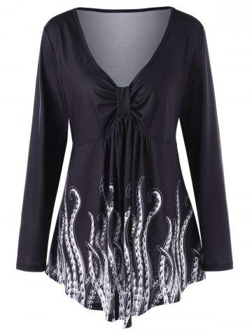 Sale Plus Size Long Sleeve Front Knot Printed Top