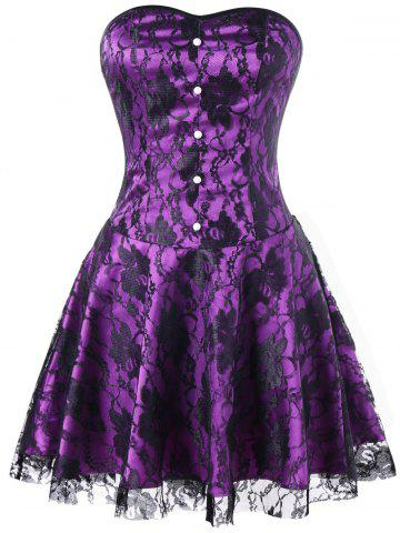 Affordable Lace Up Strapless Corset Dress
