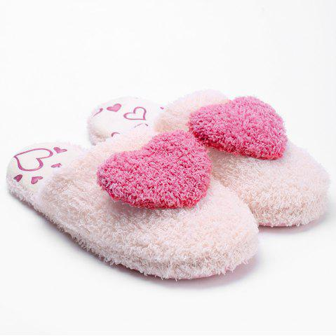 Unique Closed Toe Heart Faux Fur House Slippers