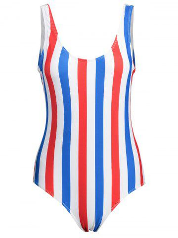 New Stripe Plus Size Backless Swimsuit