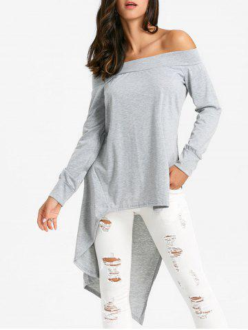 Hot Off The Shoulder Slit Asymmetric Blouse