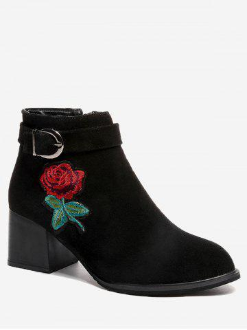 Affordable Almond Toe Flower Embroidered Ankle Boots