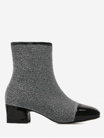 Outfits Square Toe Sequined Cloth Ankle Boots