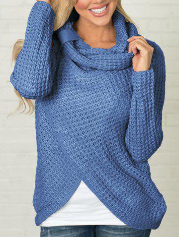 Split Front Cowl Neck Chunky Sweater