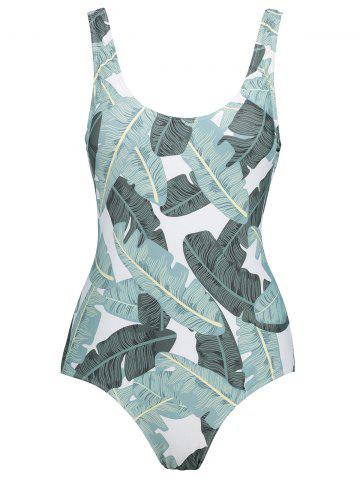 New Backless Leaves Print Plus Size Swimsuit