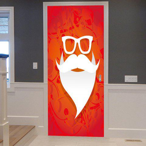 Store Christmas Santa Mustache Pattern Door Cover Stickers