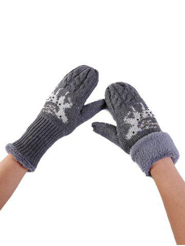 Unique Cute Elk Pattern Embellished Rhinestone Knitted Gloves