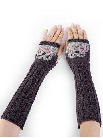 Shop Cute Cartoon Pattern Embellished Knitted Fingerless Arm Warmers