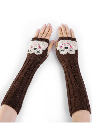 Latest Cute Cartoon Pattern Embellished Knitted Fingerless Arm Warmers