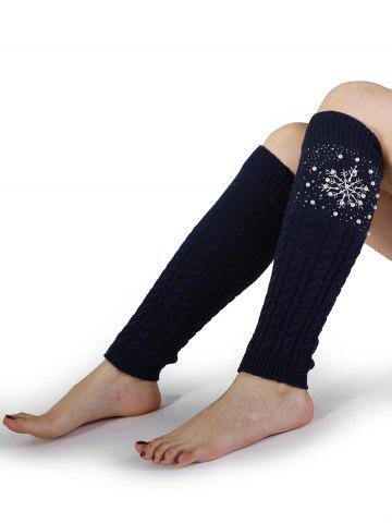Shops Snowflake Pattern Embellished Faux Pearl Knitted Sleeve Socks