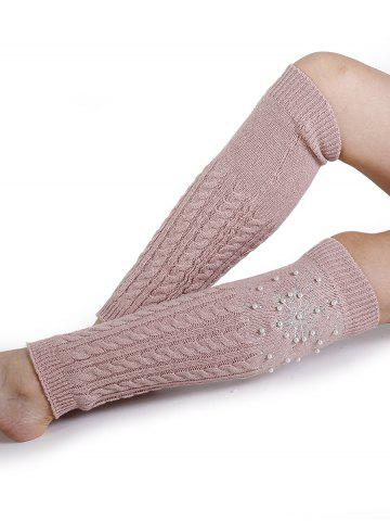 Buy Snowflake Pattern Embellished Faux Pearl Knitted Sleeve Socks
