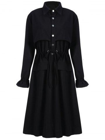 Trendy Plus Size Long Drawstring Trench Coat