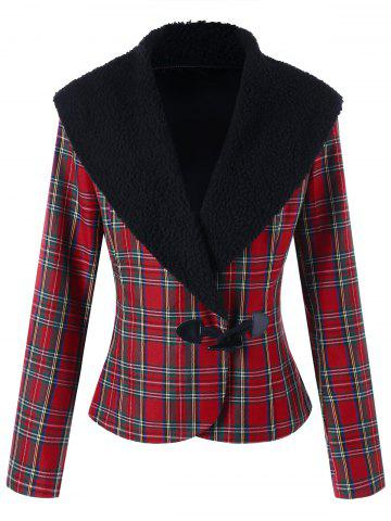 Chic Plaid Horn Button Jacket