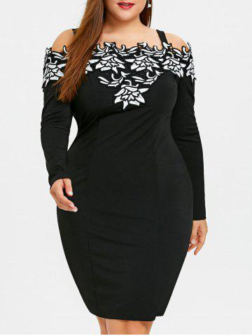 Chic Plus Size Long Sleeve Cold Shoulder Embroidered Dress