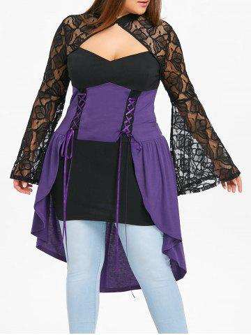 Unique Plus Size Cut Out Dip Hem Gothic Top