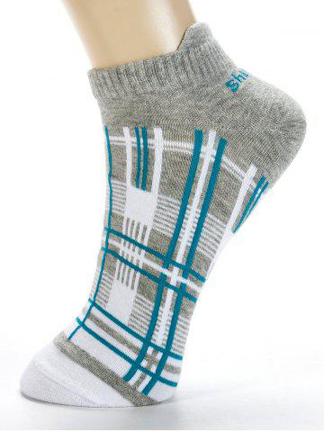 Hot Pair of Irregular Cross Stripe Pattern Cotton Ankle Socks
