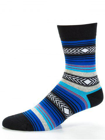 Shop Pair of Rhombus and Striped Pattern Embellished Tube Socks
