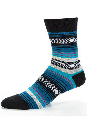 Best Pair of Rhombus and Striped Pattern Embellished Tube Socks