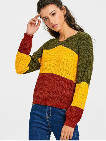 Buy Contrast Hooded Chunky Sweater