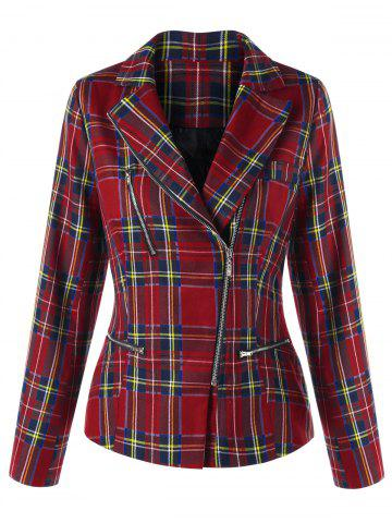 Zip Fly Plaid Jacket