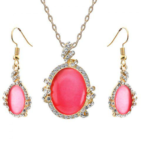 Store Artificial Diamond Pendant Necklace with Earrings