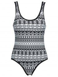 Low Back Plus Size Printed Swimsuit -
