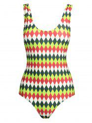 Plus Size Backless Rhombus Print Swimsuit -