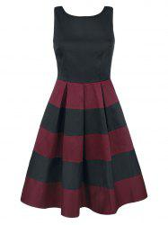 Two Tone Stripe Skater Dress -