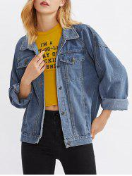 Drop Shoulder Denim Pocket Jean Jacket -