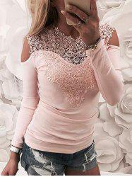 Lace Openwork Cold Shoulder Top -