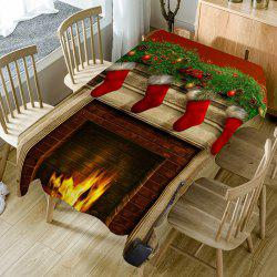 Christmas Fireplace Pattern Table Cloth -